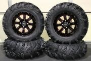 Grizzly 660 27 Mud Lite Ii 14 St-4 Red / Blk Atv Tire And Wheel Kit Irs1ca