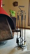 Deluxe Fireplace Set-27, Poker/tongs/brush/shovel W/ Stand-personal Initial