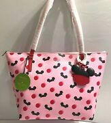 Nwt Genuine Disney Parks Kate Spademickey Mouse Pink Ear Hat Tote Actual Bag