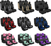 Full Set Car Seat Covers Beige Blue Red Charcoal Gray Mint Purple Pink Black