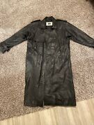 Vintage 100 Pops Leather Floor Length Trench Coat Genuine Leather Long