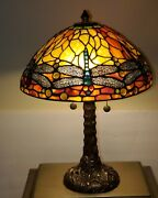 Vintage Dale Dragonfly Stained Slag Glass Table Lamp Stamped