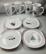 Fitz And Floyd Essential Merry Christmas Set Of Four Collectible Mugs And Plates