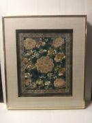 Old Chinese Qing Dynasty Kesi Embroidery Panel/rank Badge Peonies And Butterflies
