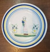 Vintage French Quimper Pottery 9.5 Inch Plate W/ Woman