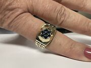 Mens Sapphire Rolex Design 14kyellow Gold Ring Size 11