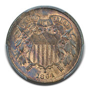 1864 2c Large Motto Two Cent Piece Pcgs Ms64rb