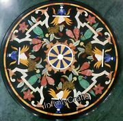 Vintage Art And Crafts Work Coffee Table Round Shape Sofa Table Size 30 Inches