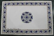Lapis Lazuli Gemstones Inlaid Office Table Top White Dining Table 30 X 48 Inches