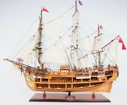 Hms Endeavour Open Hull Ship Model 37 Display Wood Nautical Decor Collectible