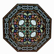48 Inches Marble Hallway Table Top Black Patio Dining Table With Pietra Dura Art