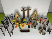 Vintage Playmobil Cowboys And Indians Huge Lot 1974-1976