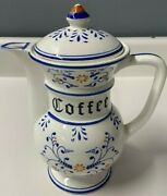 Vintage Heritage By Royal Sealy Blue Onion Coffee Pot With Lid - Numbered