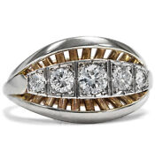 Expressive Gold And White Gold Ring With Five Diamonds Germany Um 1950