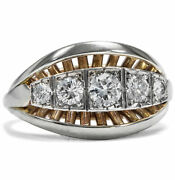 Expressive Gold And White Gold Ring With Five Diamonds, Germany Um 1950