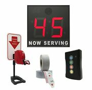 Take-a-number System W/countertop Stand Ticket Dispenser, 2-digit, 8 In. Display