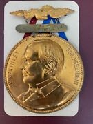Vintage 1896 Mckinley Campaign Pin And 2 Pin Backs Vp's 'roosevelt', And 'hobart'