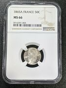 1865 A Ms66 France Silver 50 Centimes Km 814.1 Ngc 1 Graded Higher Rare Grade