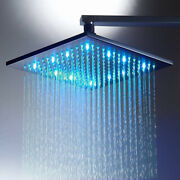 16 Inch Square Led Rainfall Shower Head Matte Black Without Shower Arm