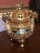 Japanese Satsuma Gold Moriage Incense Burner With Lid 7x5 With Foo Dogs