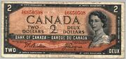 1954 Canada 2 Dollar Two Devils Face Prefix I/b Paper Money Note Currency