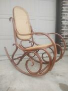 Actually Signedvtg. Mid-century Modern Thonet Rattan Bentwood Rocking Chair 6a