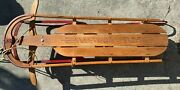 Vintage Fleetwing Flash Wood Spring Top Snow Sled