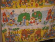 Peanuts Gang Vintage Twin Flat Sheet Snoopy Western Space Pirates Castle Fabric
