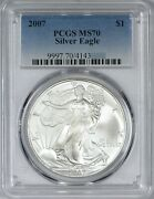 2007 American Silver Eagle Pcgs Ms70 - Lovely Bright White Silky Luster
