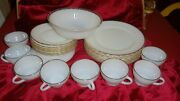 Anchor Hocking Fire King Suburbia Gold And Milk Glass Dinnerware Plates + 25 Pc