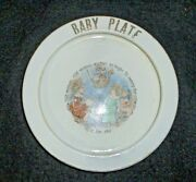 Antique Pottery Baby Plate Nursery Rhyme Old Woman Wellsville China Co.