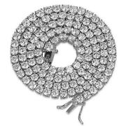 36ct Created Diamond Solid 925 Sterling Silver 4mm Tennis Chain Necklace 24