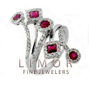 Fancy 1.75ct Vintage Style Natural Ruby Diamond Flower Ring 14k White Gold