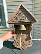 Antique German Store Bell In Carved Wood Belfry Surround -wall Mount Pull String