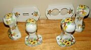 Vtg Porcelain Hand-painted Bathroom Wall Mouth Rack Holders/light Switch Covers