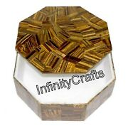 4 X 4 X 2 Inch Marble Bangle Box Tiger Eye Stones Inlaid Marble Collectible Box