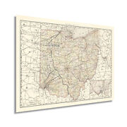 1894 Ohio State Map Art Poster - Vintage State Of Ohio Usa Wall Décor Print