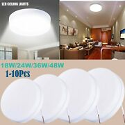 1-10pcs 48w 36w 24w 18w Round Led Ceiling Light Home Kitchen Panel Lamp Fixture
