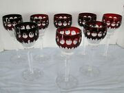 German Ruby Red Cut To Clear Crystal Wine Glasses Signed Doroteen Hutte Set Of 8