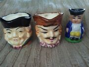 Vintage Victoria Ceramics Made In Japan Toby Character Jugs Mugs Set Of 3