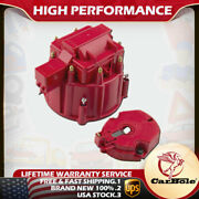 Male Hei Distributor Cap Coil And Rotor Replacement For Sbc Bbc 305 350 454 Red