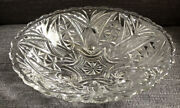 Vintage Etched Glass Depression Ware Fruit Bowl Clear Table Display 3 Prong Legs
