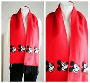 Disney Bright Red Mickey Mouse Print Scarf W Fringe By Garon Knitting Mills
