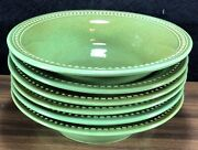 Set Of 6 Pier 1 Spice Route Jade Green Soup Cereal Bowls Beaded Rim 8 Euc