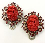 Vintage Red Coro Dress Clips Molded Glass Floral Enamel Pat. Dates 1933 Signed