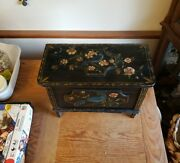 Antique Painted Wood Chest Trunk Floral And Blue Bird Folk Art Box 12x16x8
