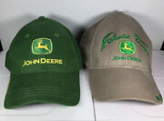 2 John Deere Adjustable Back Hat Caps Preowned Atlantic Tractor, Owners Edition