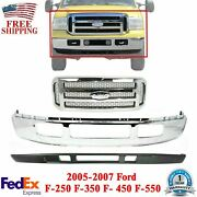 Front Bumper Chrome + Grille + Low Valance For 2005-2007 Ford F250 F350 F450-sd