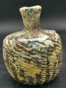 Ancient Roman Glass Bottle, Amyzing Ancient Roman Glass Bottle With,full Patina