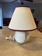 Baseball Ceramic Youth Kid Room Desk Table Bed Lamp Man Cave Light Bulb Included